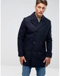 french connection blue wool pea coat for men lyst