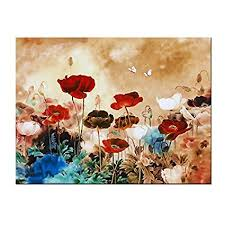 wieco art blooming poppies canvas prints wall art colorful flowers pictures paintings for living room bedroom on winter blooms ii canvas wall art with amazon wieco art blooming poppies canvas prints wall art