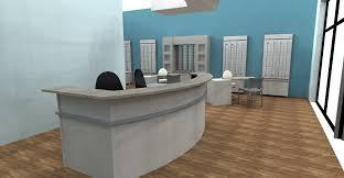 office floor design. Reception Desk Design, Space Optical Remodel, Architectural Office Floor Design