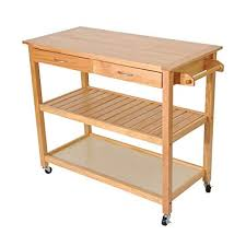 Image Real Wood Homcom 45quot Natural Wooden Tier Kitchen Rolling Cart Workbench With Storage Amazoncom Amazoncom Homcom 45