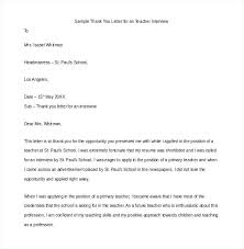 Follow Up Thank You Letter After Teaching Interview Projectspyral Com