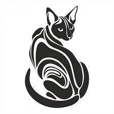 Vektorová Grafika Egyptské Sphynx černá Kočka Nebezpečné Vypadající
