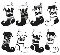 christmas stocking clip art black and white. Perfect White Black And White 8 Christmas Stocking Silhouette Set Royaltyfree Black  On Christmas Stocking Clip Art And White I