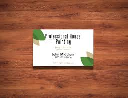 professional house painting run by john midthun requested a business card he wanted his business card to match his website which involve the color green