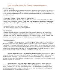 2020 Morro Bay Winter Bird Festival Volunteer Information