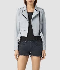light blue leather biker jackets allsaints baron leather biker jacket