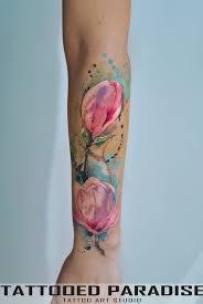 Watercolor Magnolia By Dopeindulgence тату татуировки эскиз