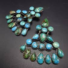 vintage navajo sterling silver turquoise cer chandelier earrings