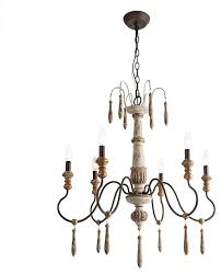 laluz 6 light shabby chic french country retro white wooden chandeliers