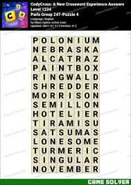 The answer for the clue: Codycross Paris Group 247 Puzzle 4 Answers Game Solver
