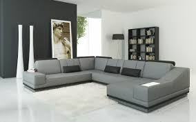 furniture elegant living room with grey modern leather sectional