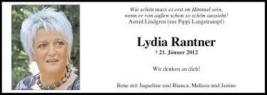 Traueranzeige Von Lydia Rantner Vom 21012013