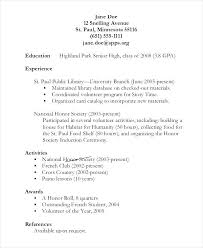 Simple Job Resume Outline High School Student Job Resume Samples For Highschool Students