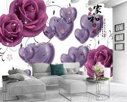 3d Room Wallpaper Custom Photo Purple ...