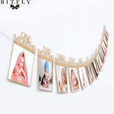 arty diy decorations 1 12 month baby photo frame birthday monthly banner garlands holder wall hanging rope folder kids gift room home dec