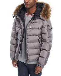 monclermen s marque fur trim puffer jacket