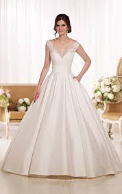 Illusion V Neck Lace Back Ivory Satin Long Ball Gown Wedding Dress Ball Gown Wedding Dresses With Sleeves Uk
