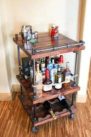 unique rustic furniture. Rustic Bar Cart Industrial Pipe Wood Unique Bars Whiskey Wine Furniture
