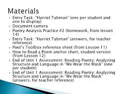 end of unit assessment poetry analysis ppt materials entry task harriet tubman one per student and one to display document