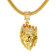 whole kings landing men s 18k real gold plated crown lion head pendant necklace with rhinestone and flat snake chain 30 long pendant necklaces pearl