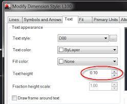 autocad dimension text size