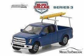 2015 Ford F-150 Pickup Truck w/ Ladder Rack, Blue - Greenlight ...