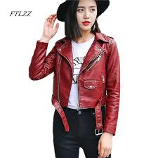 2018 ftlzz pu leather jacket women fashion bright colors black motorcycle coat short faux leather biker jacket soft female from yujiu 41 67 dhgate com