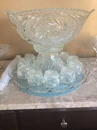 details about vintage cut crystal punch bowl with stand and 10 cups