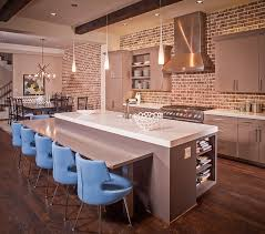 gorgeous gray cabinets and kitchen island in kitchen with beautiful brick wall design jamestown