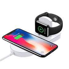 T TECLUSIVE Luxury 2 in 1 Wireless Charger Compatible for iPhone and iWatch  | Smart Qi Wireless Charging Compatible for iPhone 11 Pro Max / 11 / XS Max  / X /