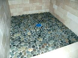 rock shower floor river tile stone