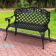 outsunny garden bench cast aluminium