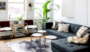 living leather tan couch sofa black carpet room beige brown color navy grey rug dark and
