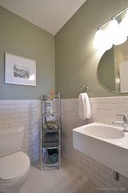 guest bathroom tile ideas. Perfect Ideas Vintage Subway Tile Guest Bath Renovation Idea Light Moss Green Walls Plus  White Hexagonal Floor Paired With Modern Sink Really Make This  For Bathroom Ideas