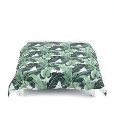 palm leaf duvet cover blue jungle