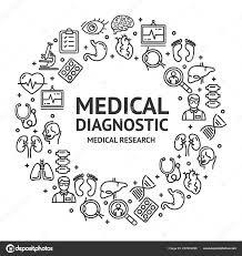 Medical Diagnostics Signs Round Design Template Thin Line