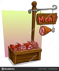 cartoon butcher vendor booth or market wooden stand wooden sign with text meat vector icon for game stock ilration