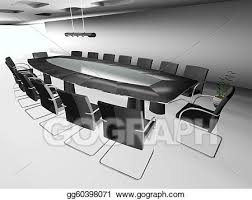 3d round conference room isolated on white