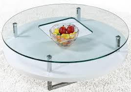 white round coffee table with glass top