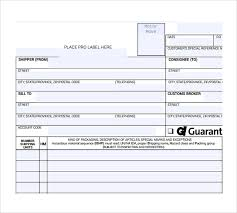 Blank Bill Of Lading Forms Sample Bill Of Lading Form 9 Download Free Documents In Pdf