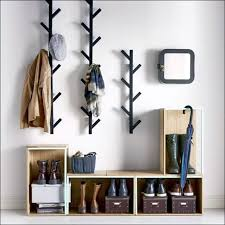 wall mounted coat rack rustic style with entryway shoe storage unit wall mounted coat rack