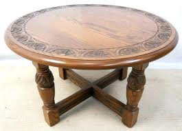 antique round coffee table carved oak by sold for marble with brass legs oa