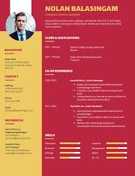 Yellow Red College Student Resume Template Template Venngage
