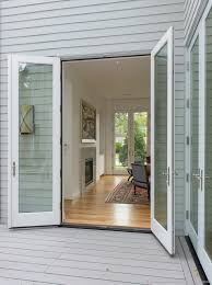 house front door open. French Doors On Deck Open To Living Room With Aligned At Front Of  House Beyond Door D
