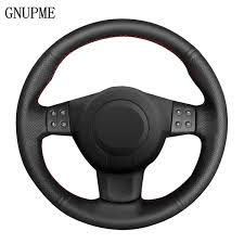 <b>GNUPME</b> DIY Hand Stitched <b>Black Artificial Leather</b> Car Steering ...