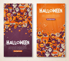 Halloween Menu Design Halloween Banners Set Vector Illustration Flat Halloween
