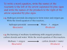 to write a word equation write the names of the reactants to the left of