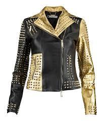 women s leather jacket marpel black gold
