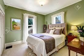 Hellgrün Elegante Schlafzimmer Interieur Mit Schönen Bett Und