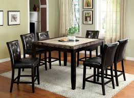 furniture of america cm3871pt cm3188bk pc belleview ii 7 pieces black wood square counter height table set